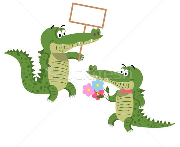 Barátságos rajz krokodilok illusztrációk szett üres Stock fotó © robuart