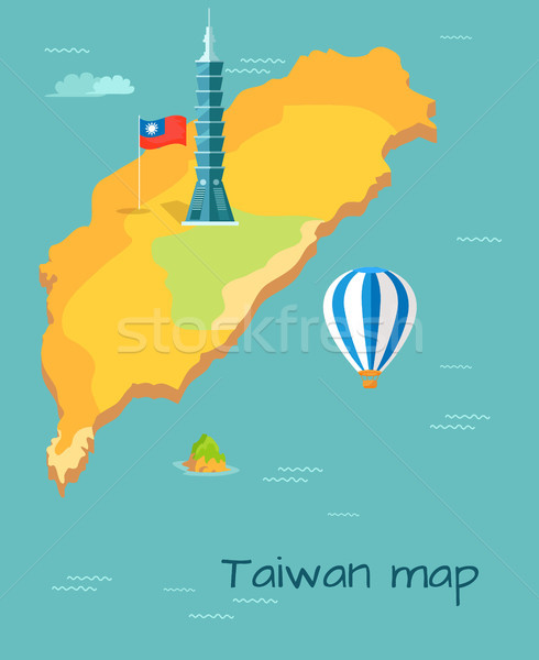 Taiwan Map High Taipei, Flag of Island, Balloon Stock photo © robuart