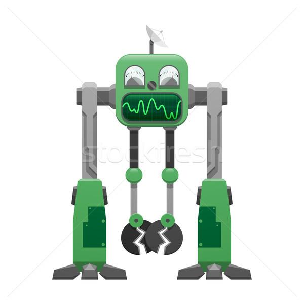 Green Iron Robot with Satellite Dish Illustration Stock photo © robuart