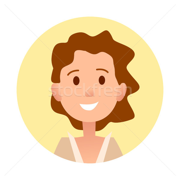 Brown-haired Curly Girl Smiles Close-up Portrait Stock photo © robuart