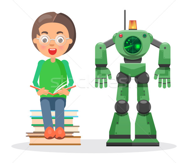 Child Sits on Pile of Books and Reads Beside Robot Stock photo © robuart