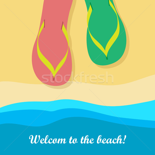 Welcome to Beach. Pair of Colorful Flip Flops Stock photo © robuart
