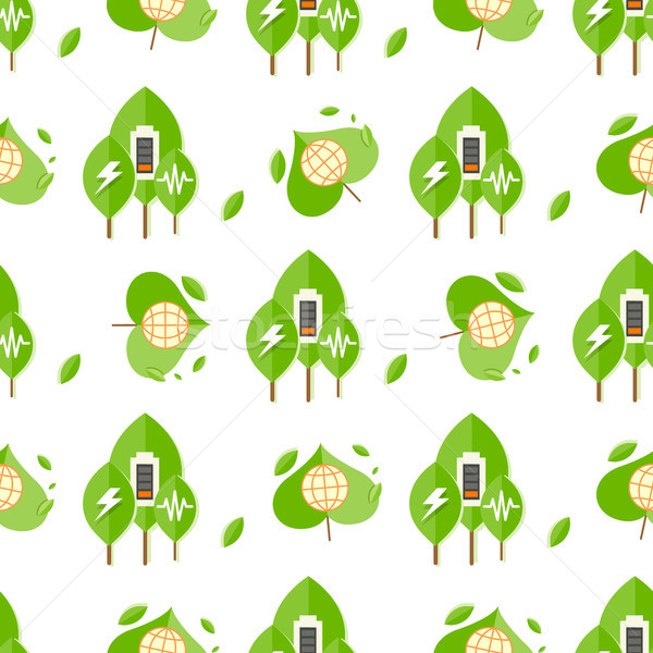 Seamless Pattern with Trees, Battery Signs, Globe Stock photo © robuart