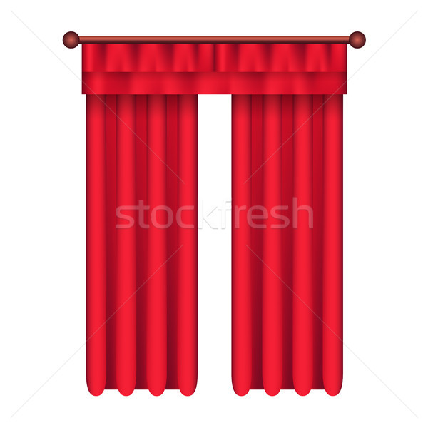 Classic Heavy Red Drapes on Cornice Vector Stock photo © robuart