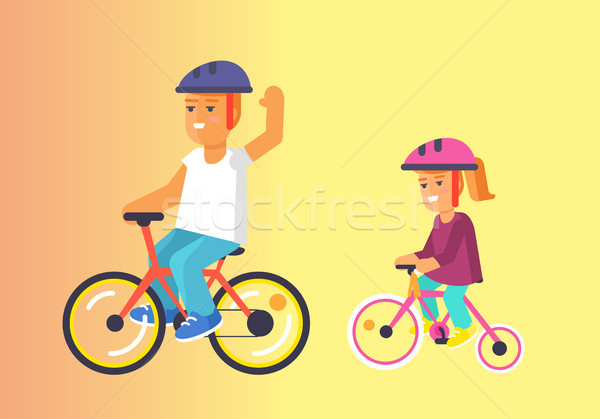 Brother and Sister Ride on Bikes in Helmets Vector Stock photo © robuart