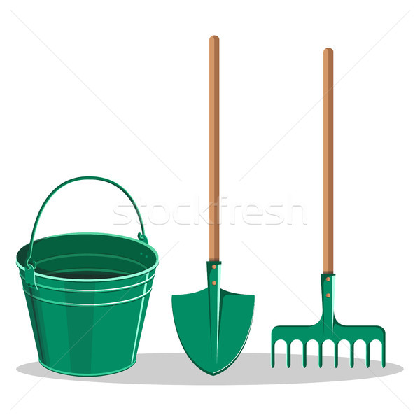 Gardening Bucket, Green Shovel and Rake on White Stock photo © robuart