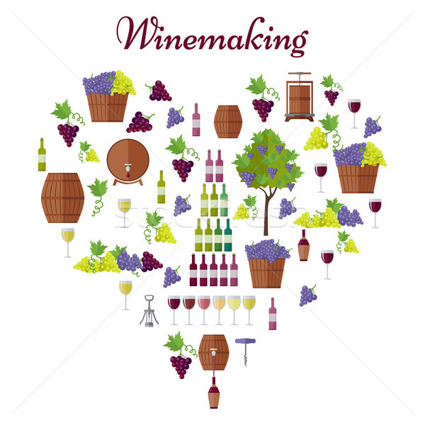Elite Winemaking Poster Vector in Heart Shape Stock photo © robuart