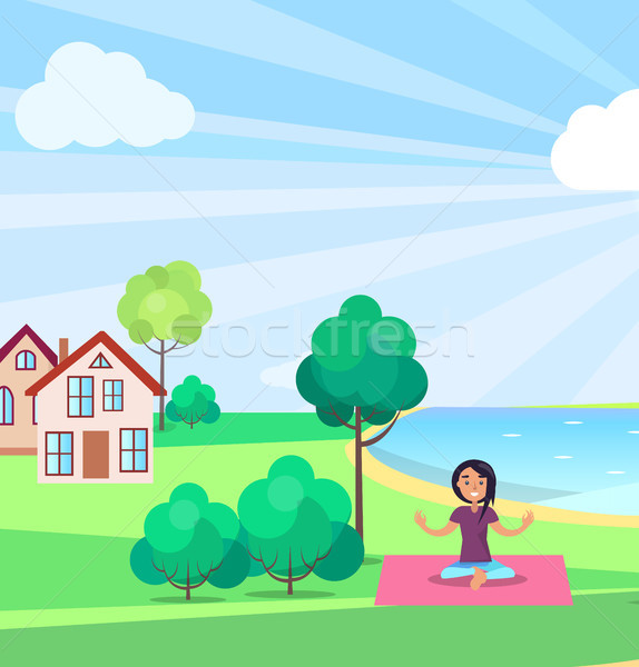 Girl Doing Yoga Outdoors, Buildings on background Stock photo © robuart
