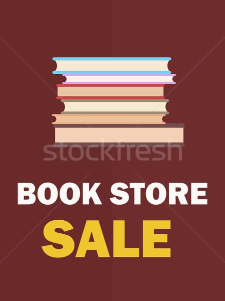 Könyvesbolt vásár poszter köteg könyvek közelkép Stock fotó © robuart