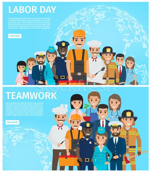 Munka nap csapatmunka promóció illusztráció poszter Stock fotó © robuart
