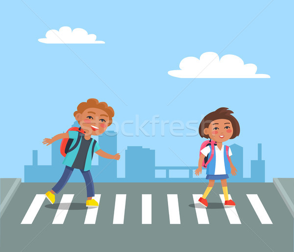 Cheerful Kids with Red Rucksacks Crossing Road Stock photo © robuart
