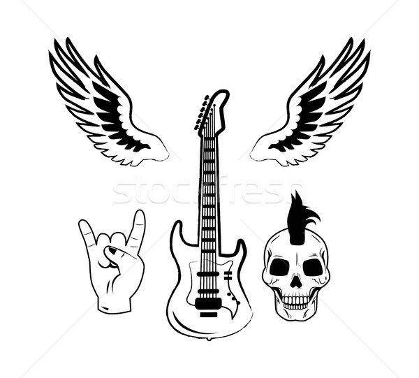 Rock n Roll Symbol Electric Guitar Punk Skull Icon Stock photo © robuart