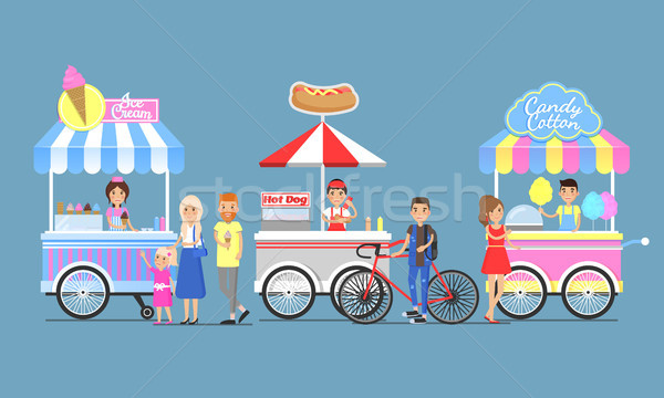 Ice Cream, Hotdog and Candy Cotton Boothes Icons Stock photo © robuart