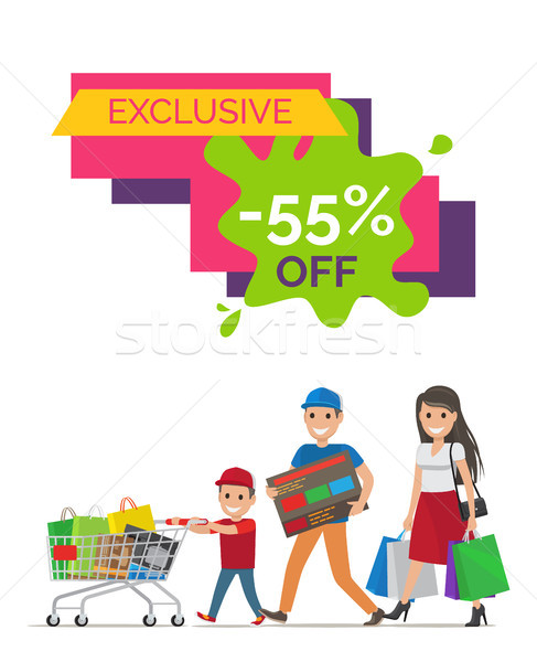 Exclusive -55 Off Placard on Vector Illustration Stock photo © robuart