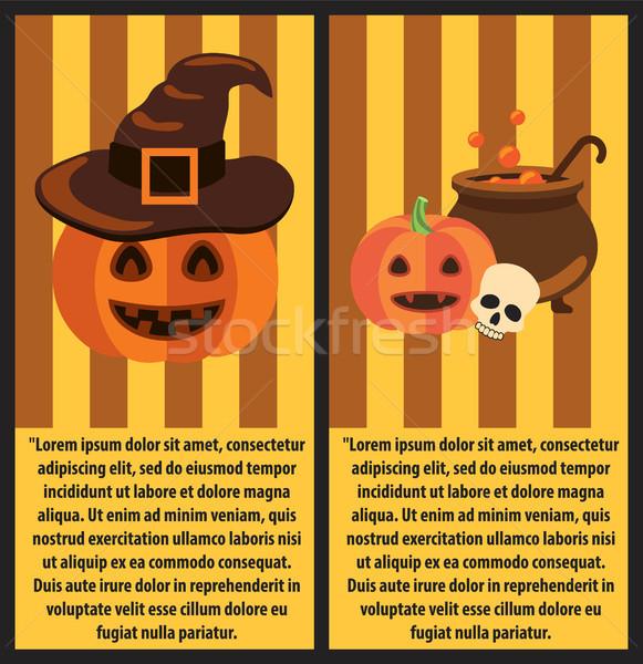 Halloween Pumpkins and Cast-Iron Vat of Potion Stock photo © robuart