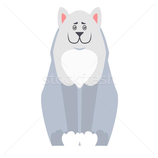 Cute Dog Seating Cartoon Flat Vector Icon Stock photo © robuart