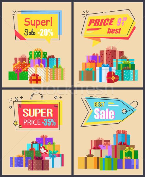 Super Sale Last Price Set of Labels Percent Signs Stock photo © robuart