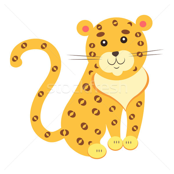 Cute Jaguar Cartoon Flat Vector Sticker or Icon Stock photo © robuart