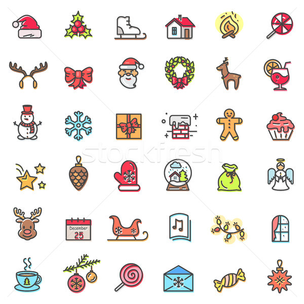 Christmas Holiday Set of Icons Vector Illustration Stock photo © robuart