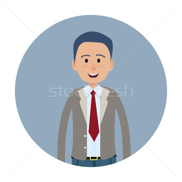 Joyed Businessman or Clerk Flat Vector Icon Stock photo © robuart