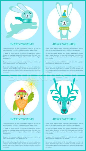 Stok fotoğraf: Neşeli · Noel · ayarlamak · posterler · gülen · hayvan