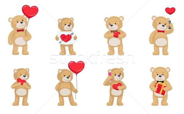 Miłości mnie misie wektora serca podpisania Zdjęcia stock © robuart