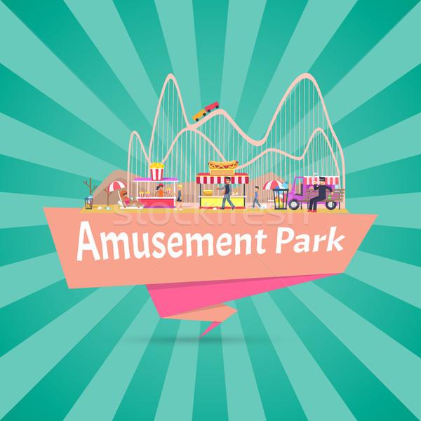 Parco di divertimenti banner titolo persone sporca luogo Foto d'archivio © robuart