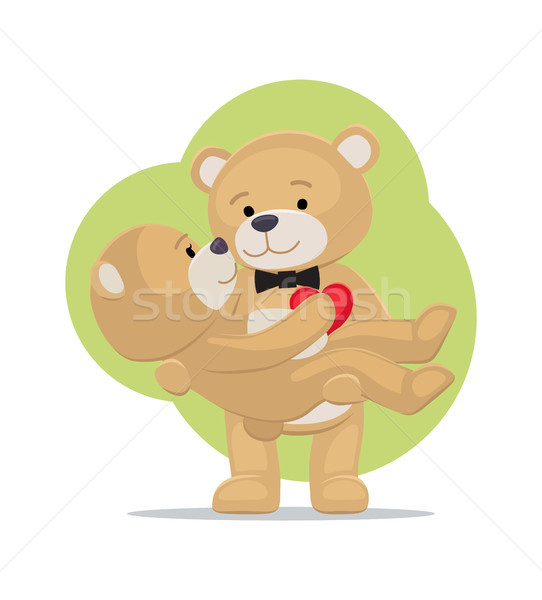Teddy Bears Couple, Female in Paws of Lovely Male Stock photo © robuart