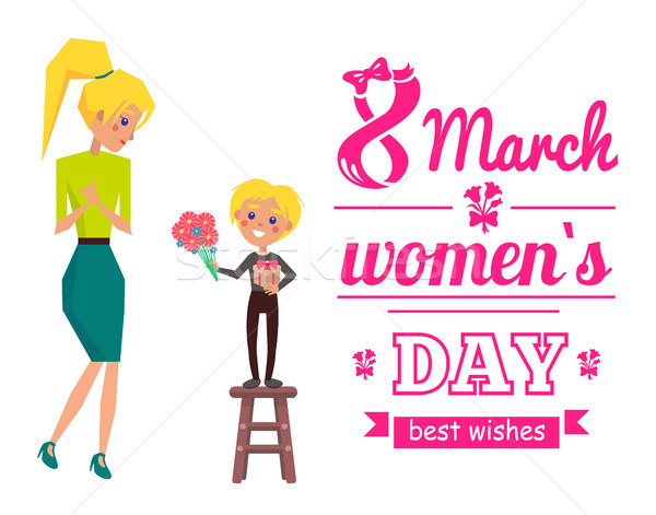March 8 Womens Day Best Wishes Vector Illustration Stock photo © robuart