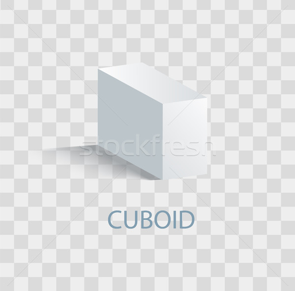 Cuboid White Geometric Figure that Casts Shade Stock photo © robuart