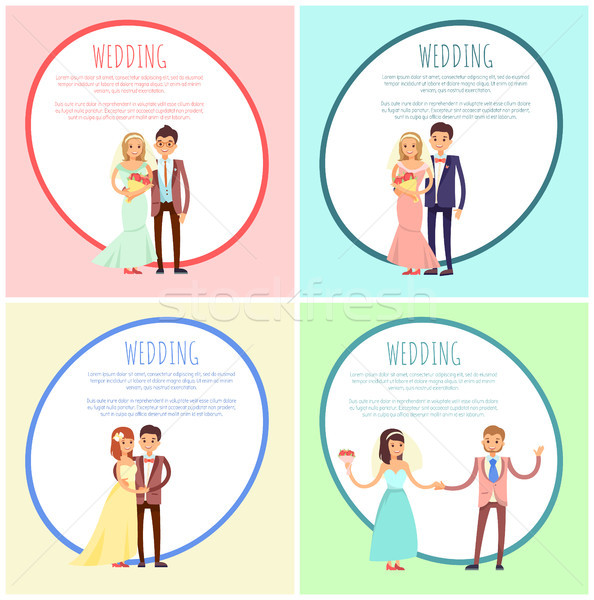 Newlyweds in Wedding Gowns and Festive Suits Set Stock photo © robuart