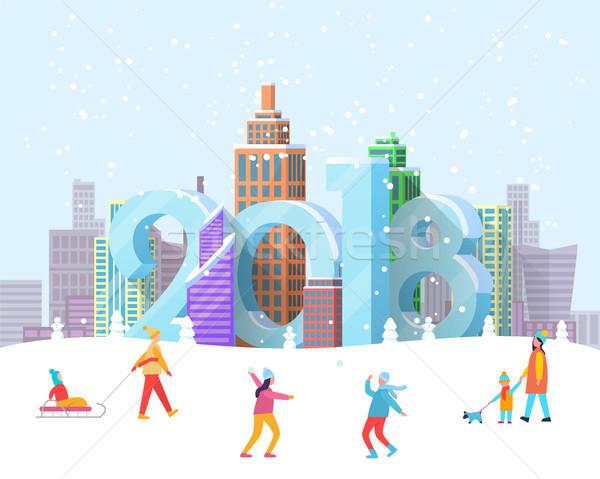 Stockfoto: Nieuwjaar · stad · poster · mensen · park · stadsgezicht