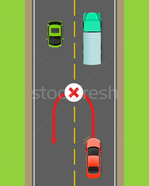 Banned Car U-Turn Flat Vector Diagram Stock photo © robuart