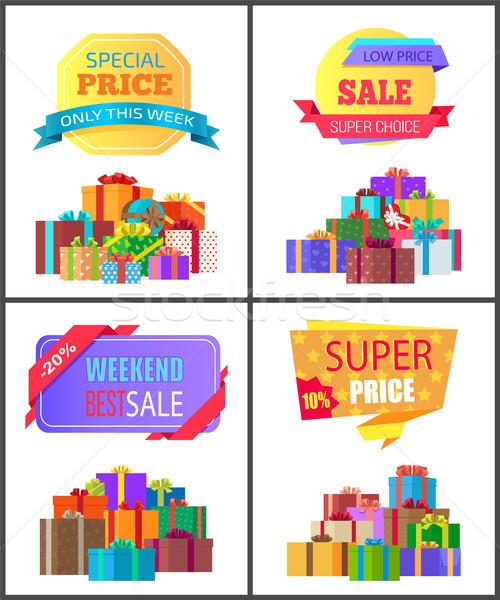 Ingesteld speciaal prijs exclusief korting posters Stockfoto © robuart