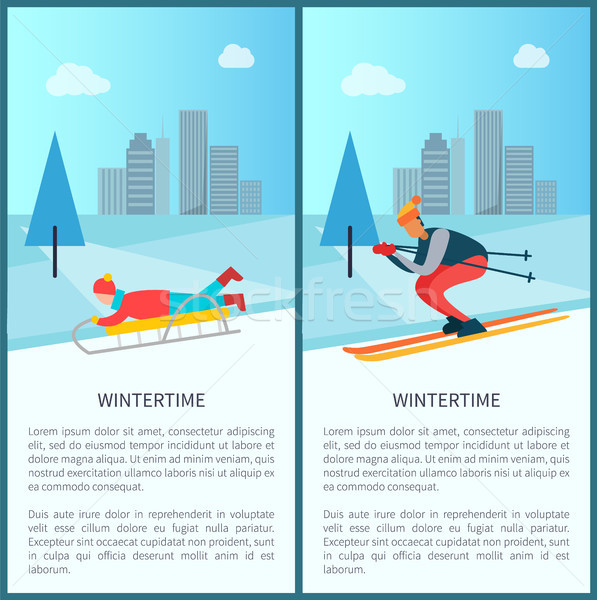 Wintertime Sled and Skier Set Vector Illustration Stock photo © robuart