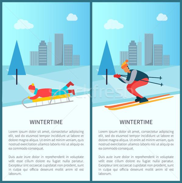 Skieur enfant vers le bas pente Photo stock © robuart