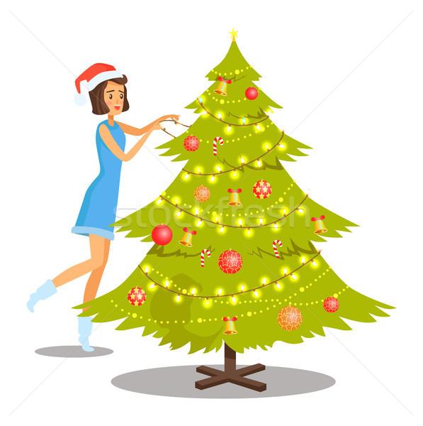 Stok fotoğraf: Kadın · noel · ağacı · mavi · elbise
