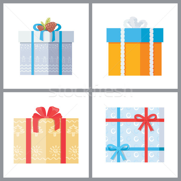 Set of Gift Boxes in Decorative Wrapping Vector Stock photo © robuart
