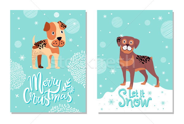 Merry Christmas and Let It Snow Cards with Dogs Stock photo © robuart
