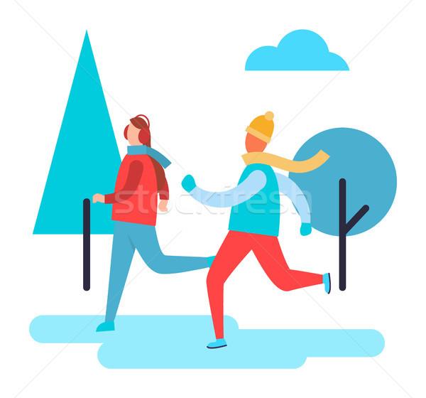 人 スキー 冬 公園 木 雲 ストックフォト © robuart