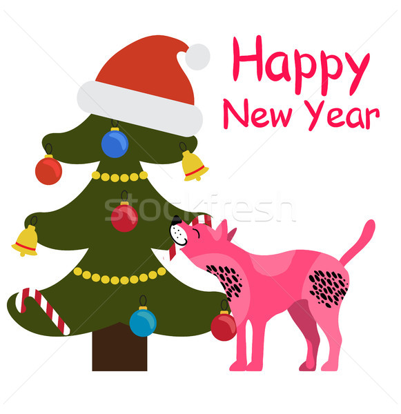 Happy New Year Greeting Card Cartoon Spotted Dog Stock photo © robuart
