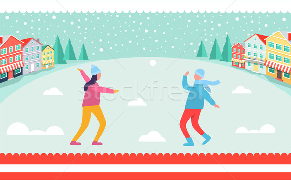 People Playing Snowballs Vector Illustration Stock photo © robuart
