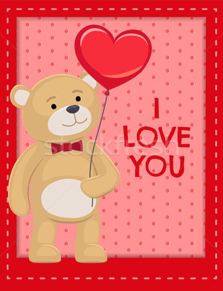 I Love You Poster Adorable Teddy Cute Bear Animal Stock photo © robuart