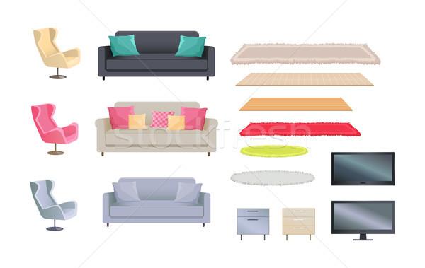 Intérieur ensemble pelucheux tv Photo stock © robuart