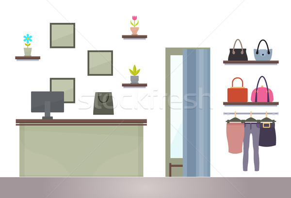 Femme Shopping magasin ordinateur table tablettes Photo stock © robuart
