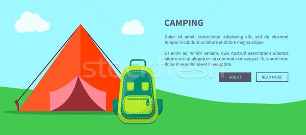 Nyár kempingezés sablon sátor hátizsák rajz Stock fotó © robuart