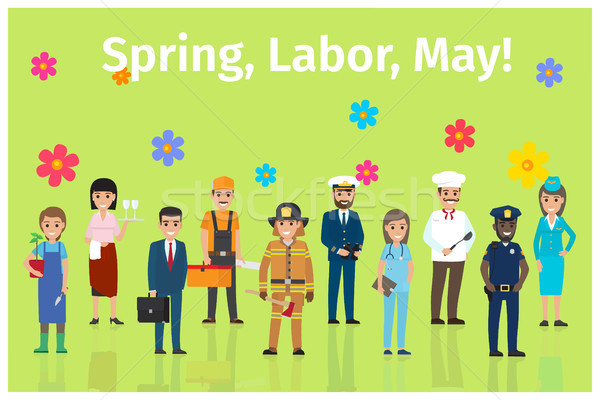 Spring, Labor, May with Ten Occupations on Green Stock photo © robuart