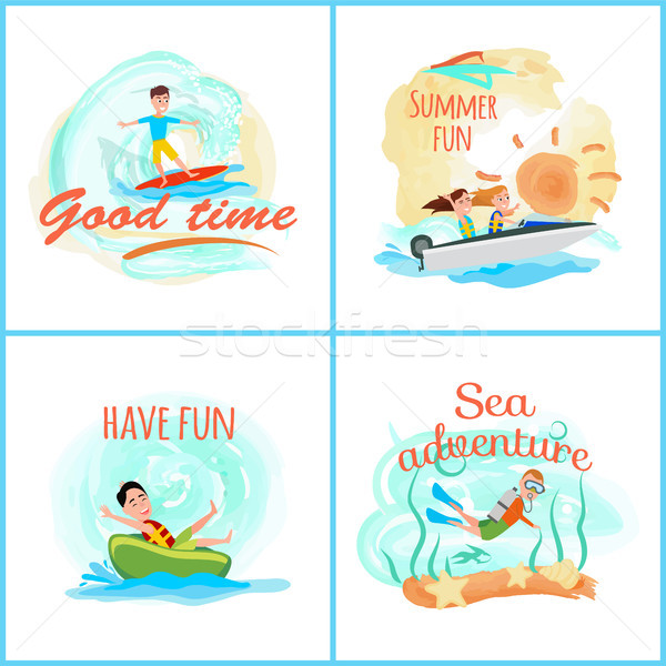 Good Time Collection of Poster Vector Illustration Stock photo © robuart