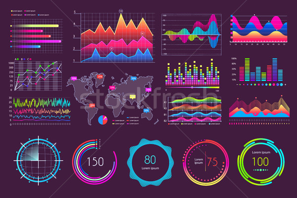 Multicolored Charts and Various Diagrams Icons Stock photo © robuart