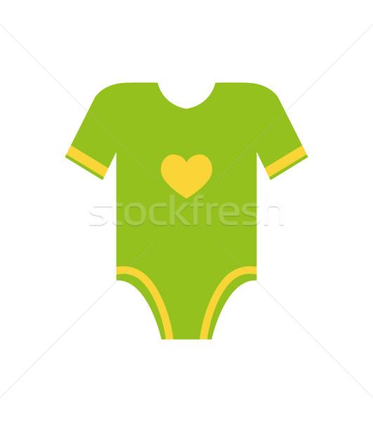 Short Sleeves Legless Green Romper Yellow Heart Stock photo © robuart